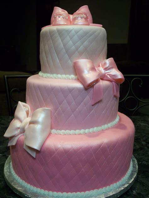 Where To Get A Baby Shower Cake by Mymonicakes Pink Quilted Baby Shower Cake With Bows