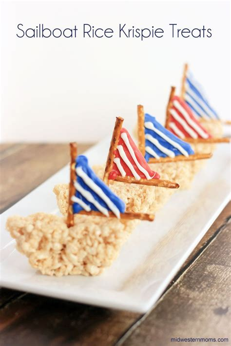 Summer Rice Shower these sailboat rice krispie treats are for summertime a twist to the normal