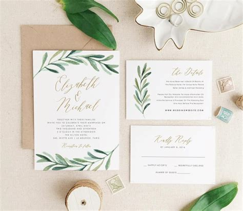 wedding invitation card suite with flower templates greenery wedding invitation template printable wedding