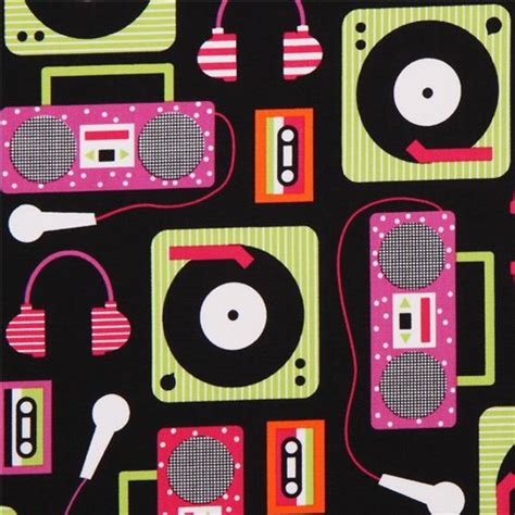 imagenes retro musica black beatbox retro audio music fabric by robert kaufman