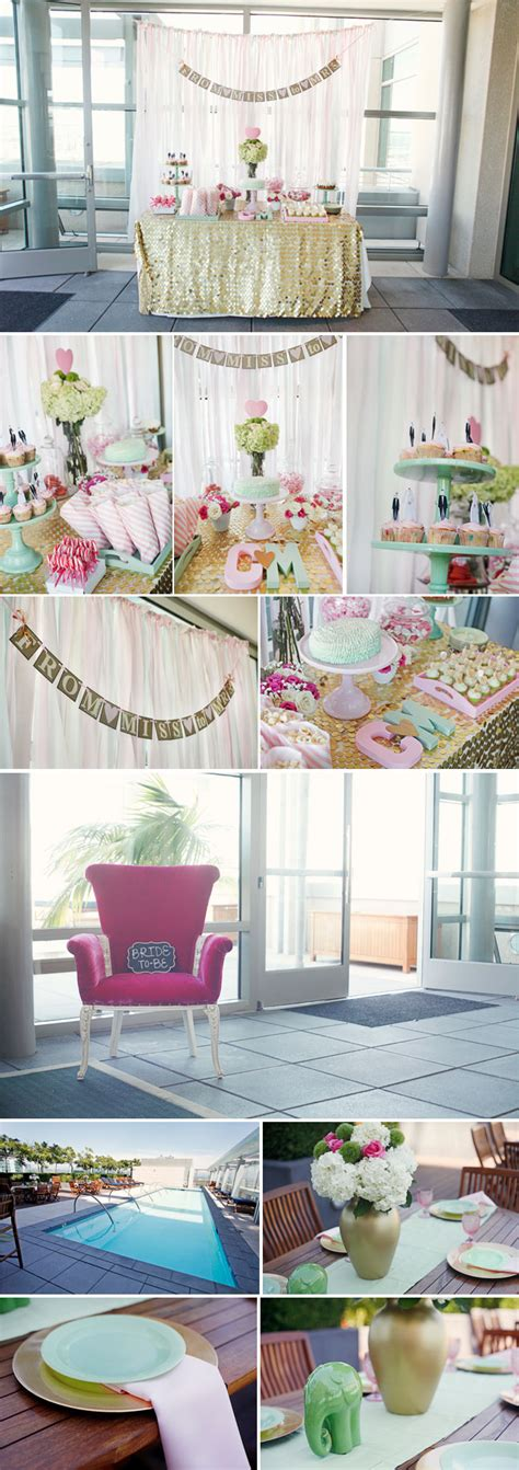 Mint Green Bridal Shower Ideas by Pink Mint Green And Gold Bridal Shower