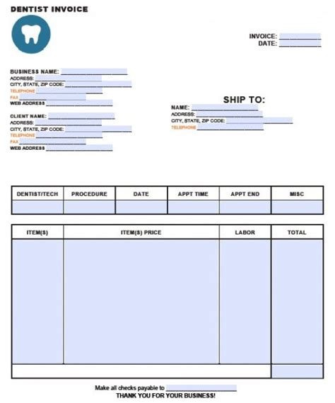 dental template free dental invoice template excel pdf word doc