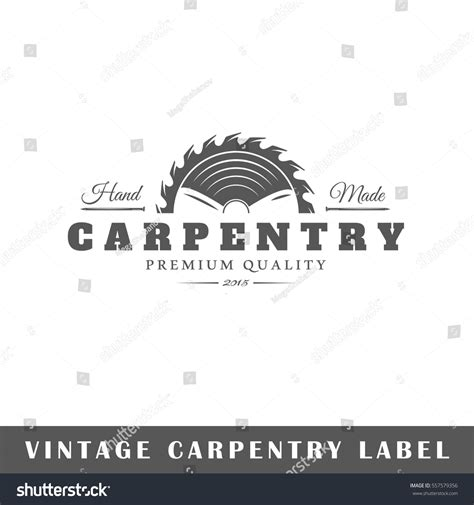 logo design white label carpentry label isolated on white background stock vector