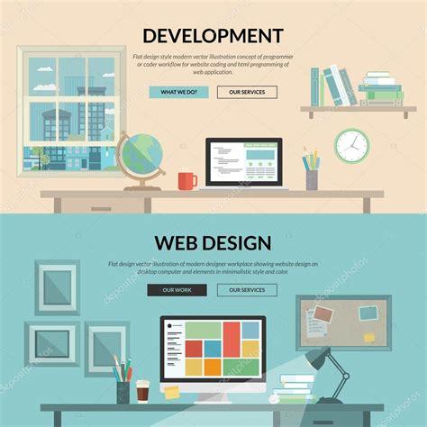html design concepts set of flat design concept for web development stock