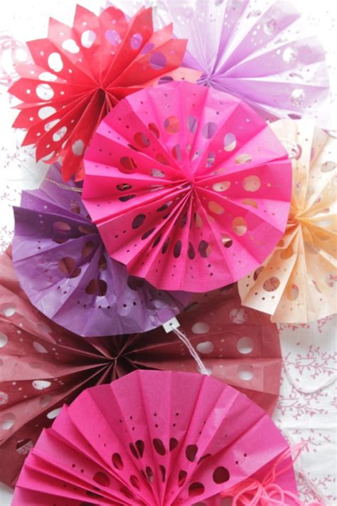How To Make Tissue Paper Fans - punched tissue paper fans diy