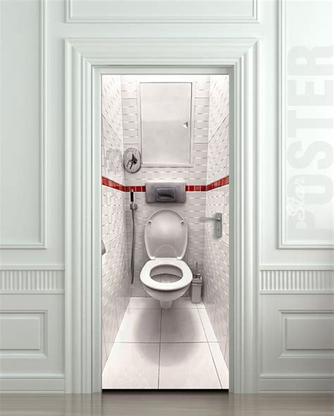 bathroom door stickers wall door sticker toilet wc bathroom water closet mural decole film poster 30x79