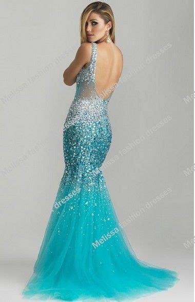 Blue Mermaid Dress 2014 new arrival sheer fabric heavy beaded blue