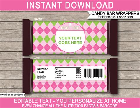 pink golf hershey candy bar wrappers personalized candy bars