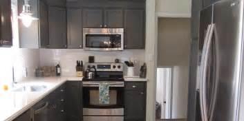 Remodelaholic kitchen redo with dark gray cabinets amp white subway