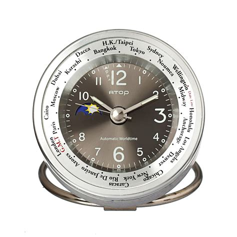 atop world time alarm clock silver black atop clocks touch of modern
