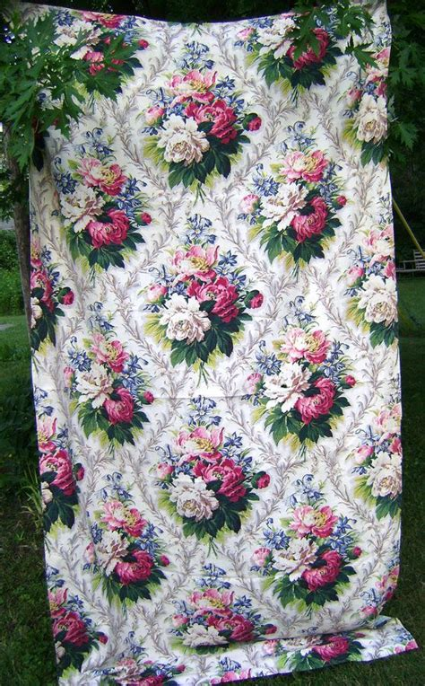 vintage 1940s barkcloth bark cloth roses peony peonies lovely floral pattern curtain drape