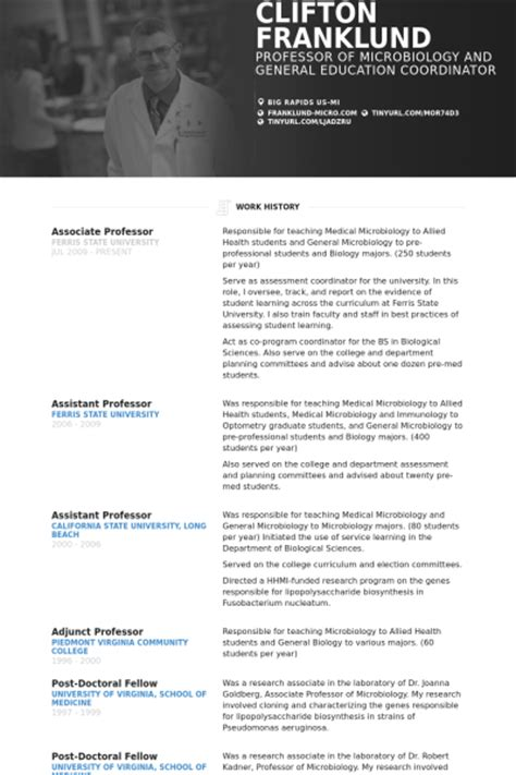 Professor Resume Sles Visualcv Resume Sles Database Resume Template For Professor