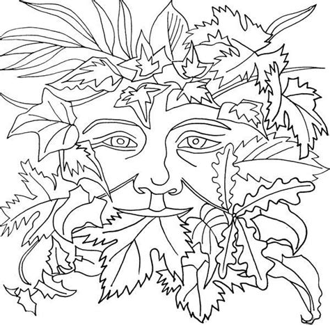 leaf man coloring page green man drawings sketch coloring page