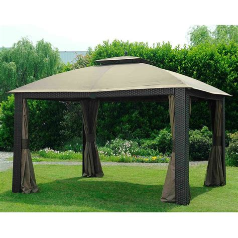 sunjoy gazebo shop sunjoy beige aluminum rectangle permanent gazebo