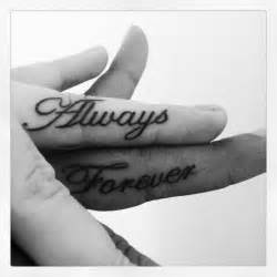 Forever tattoo design on finger wedding tattoo idea for couples