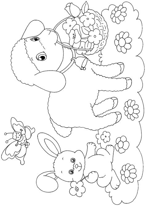 spring lamb or sheep coloring pages