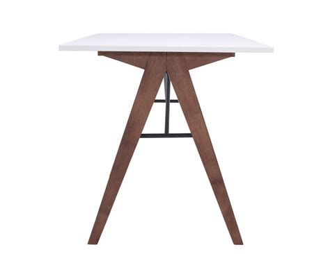 White Desk With Walnut Legs Z147 Desks Modern Desk Legs