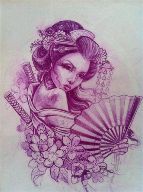 geisha girl tattoo design geisha tattoos drawing coloring