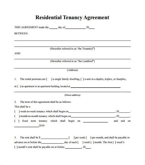 landlord agreement template tenant lease agreement 8 free documents in pdf