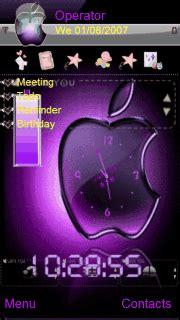themes apple clock download purple apple clock s60v5 theme nokia theme