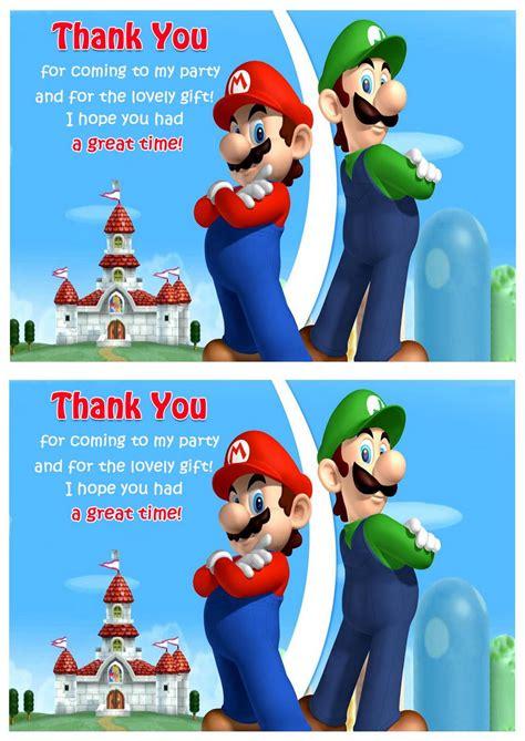 printable mario thank you cards super mario thank you cards birthday printable