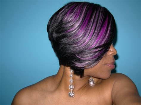 black hairstyles purple raymona hairstyles with wigs purple feathered haircut