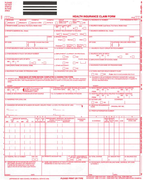 28 medical claim form hcfa 1500 form niengroem s