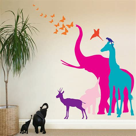 animal wall stickers  grasscloth wallpaper