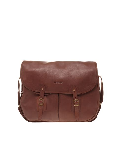 brown leather messenger bag barbour leather messenger bag in brown for lyst