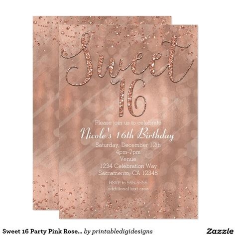 Sweety Gold 22 sweet 16 pink gold invitations sweet