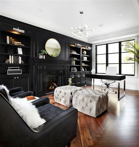 black built ins contemporary den library office the design company