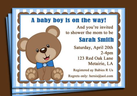 Blue Teddy Bear Invitation Printable Or Printed With Free Teddy Baby Shower Invitations Templates Free