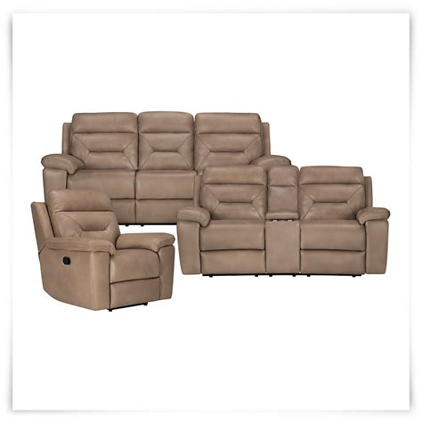 city furniture dk beige microfiber reclining sofa