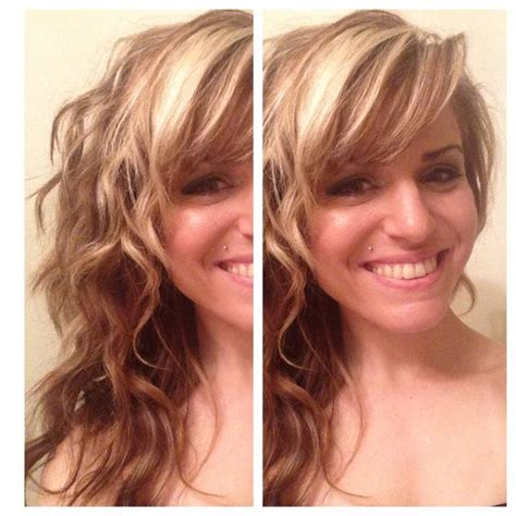 highlite only bangs hair waves blonde highlights lowlights contrast side