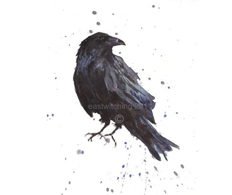 watercolor tattoo raven print bird lover bird hitchcock
