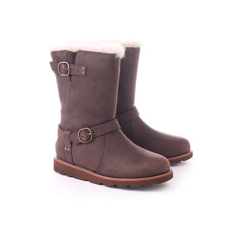 ugg noira sheepskin lined leather boots