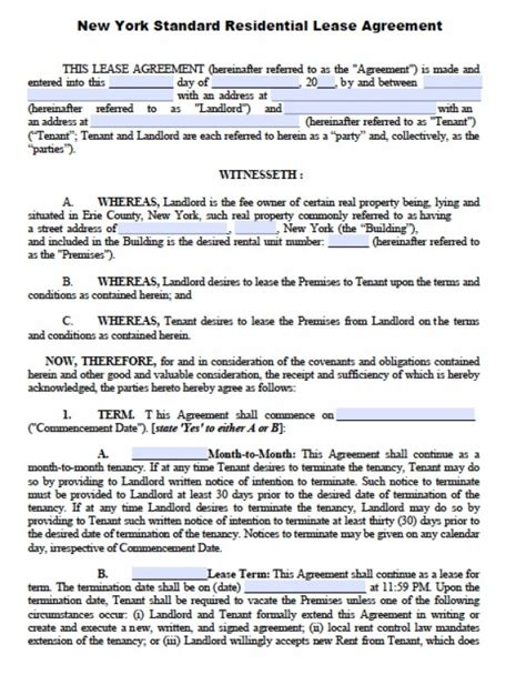 Free New York Residential Lease Agreement Pdf Word Doc Ny Residential Lease Agreement Template
