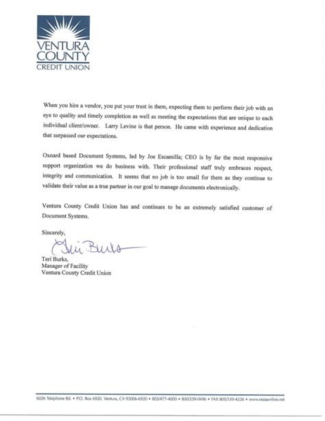 Recommendation Credit Letter Letter Of Recommendation Ventura County Credit Union