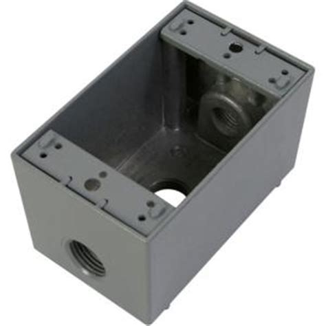 home electric box greenfield 1 weatherproof electric outlet box with three 1 2 in holes gray db23ps