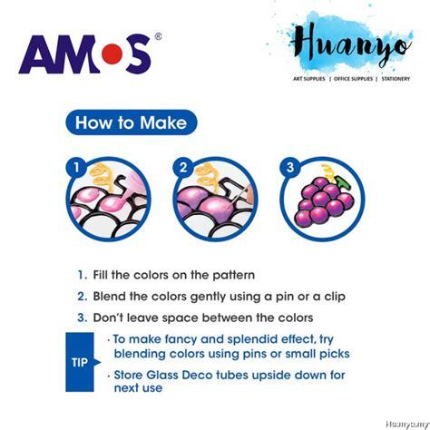 amos colors amos glass deco paint 22ml 6 colours set