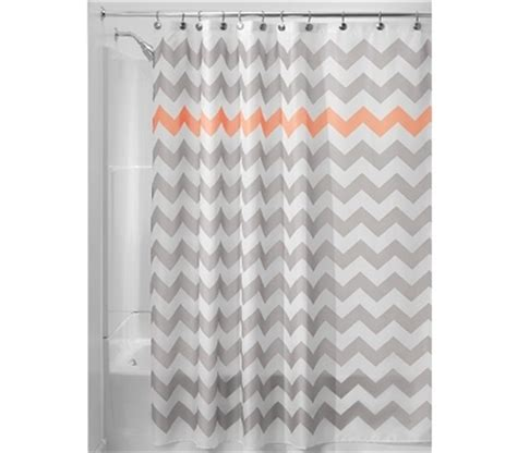 coral chevron shower curtain chevron fabric shower curtain light gray coral
