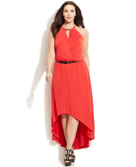 michael kors michael plus size belted high low maxi dress