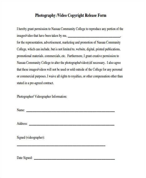 copyright release template release form templates