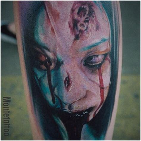 zombie tattoo on leg by graynd tattooimages biz cool multicolored bloody zombie woman tattoo on leg