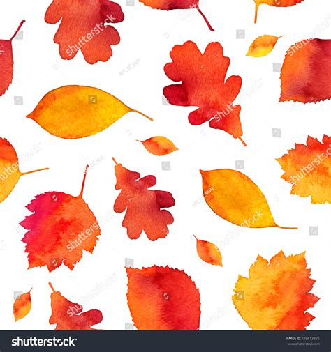 watercolor seamless pattern with pink and orange autumn orange watercolor painted autumn leaves seamless stock