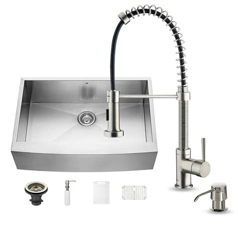 home depot faucets for kitchen sinks 2018 vigo all in one farmhouse apron front stainless steel 33 in single bowl kitchen sink in