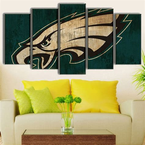 philadelphia eagles home decor 5 piece philadelphia eagles logo rugby hd printed canvas