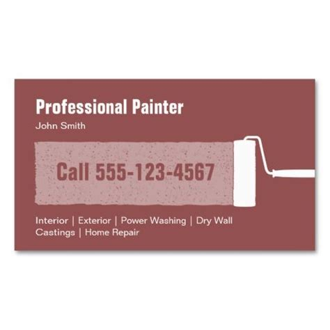 Painters Business Cards Templates by Professional Painter Business Card Template Card