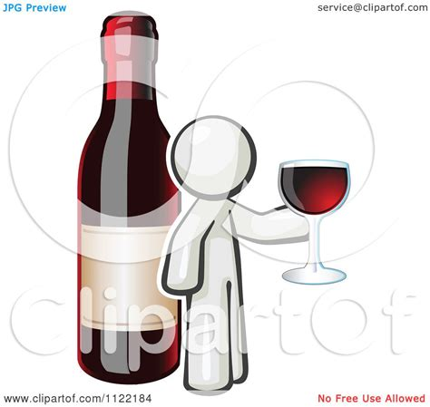 cartoon white wine cartoon of a white man wine tasting by a giant bottle
