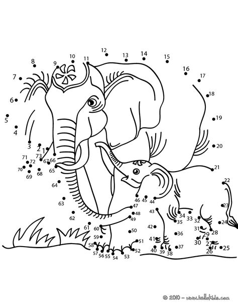 printable animal dot to dots elephants dot to dot game coloring pages hellokids com
